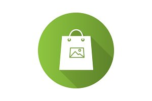 Printing on shopping bags flat design long shadow glyph icon