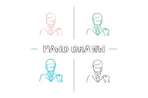 Dentist hand drawn icons set