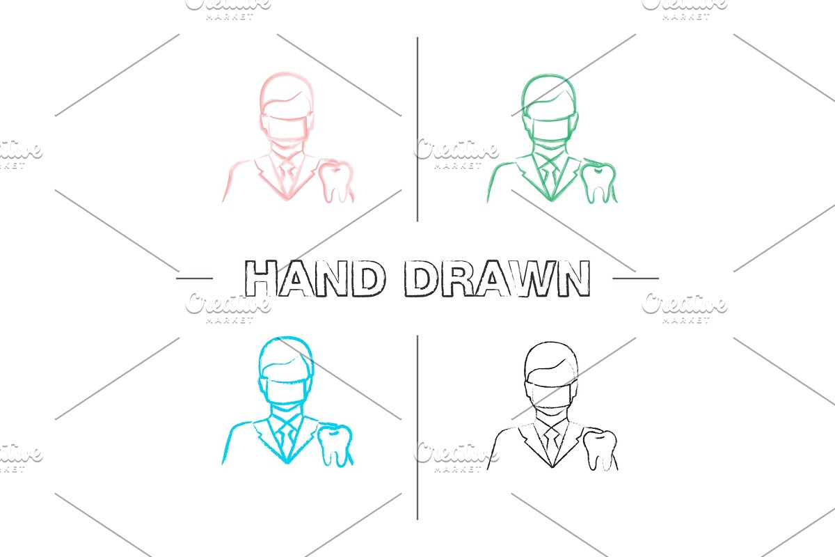 Dentist hand drawn icons set