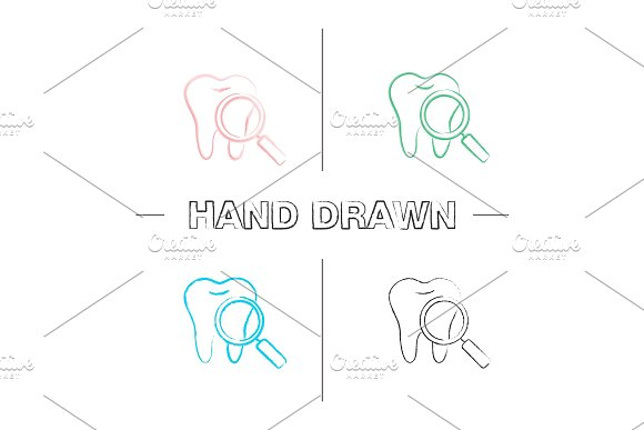 Teeth medical check hand drawn icons set