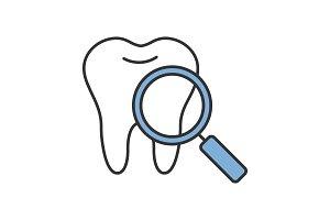 Teeth medical check color icon