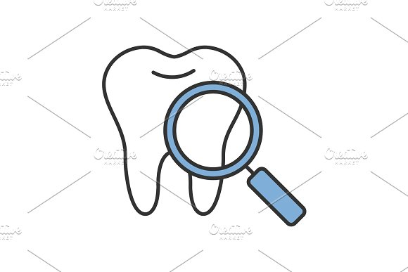 Teeth medical check color icon