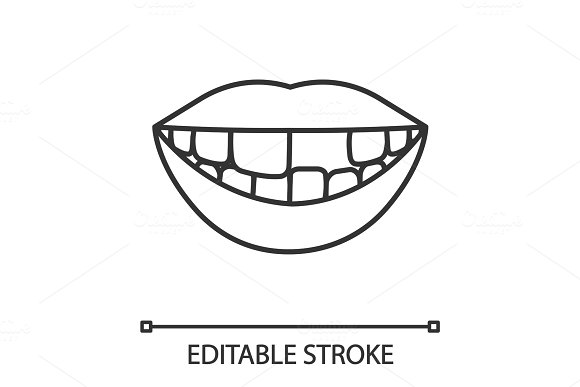 Smile with missing tooth linear icon
