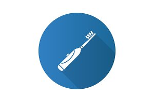 Electric toothbrush flat design long shadow glyph icon