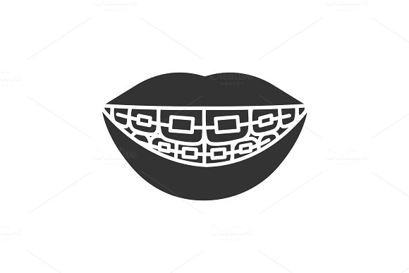 Dental braces glyph icon