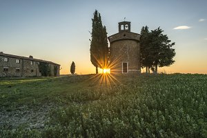 Dramatic Sunset at the tuscan chapel