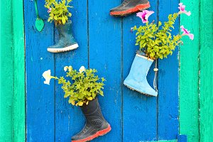 Boots with blooming summer flowers