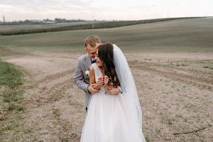 Newlyweds and gentle embraces