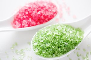 spa sea bath salt close-up