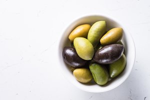 Olives on white.
