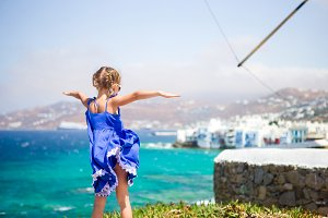 Little girl on vacation in Mykonos