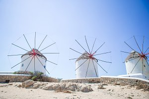 Famous view of traditional greek windmills on Mykonos