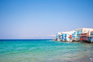 Little Venice the most popular sight in Mykonos Island on Greece, Cyclades