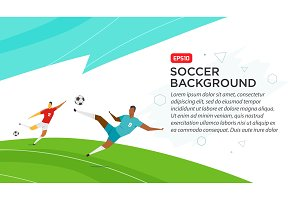 Soccer players . Championship . Fool color vector illustration in flat style isolated on white background. Poster banner print
