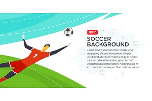 Soccer player goalkeeper . Championship . Fool color vector illustration in flat style isolated on white background. Poster banner print