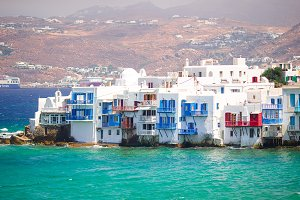 Beautiful Little Venice in Mykonos Island on Greece, Cyclades