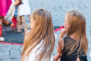 Adorable little girls in Trastevere in Rome, Italy