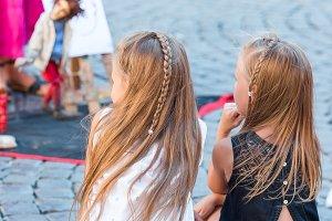 Adorable little girls in Trastevere in Rome, Italy