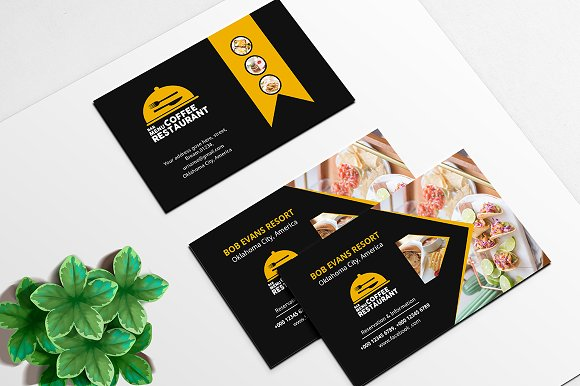 Restaurant business card business card templates creative market restaurant business card business cards accmission Image collections