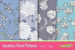 Cold Colors Set - Floral Patterns