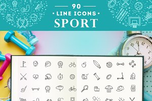 Line sport concepts, Icons set