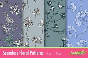 Cold Colors Set2 - Floral Patterns