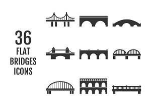 Collection of 36 bridges flat icons