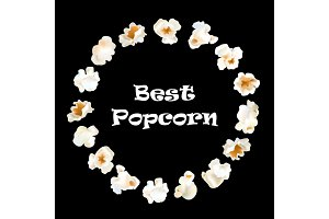 Popcorn round frame. Vector realistic illustration