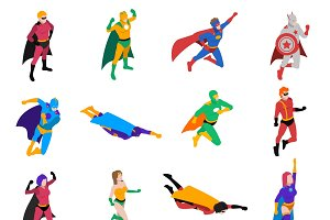 Powerful superhero isometric icons