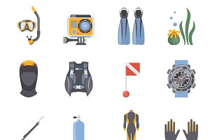 Diving and snorkeling icons