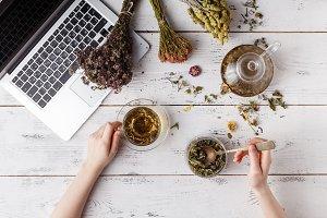teapot with herbal tea