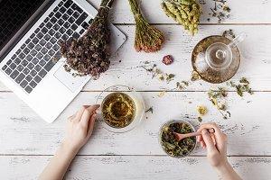 medicinal herbs, cup of healthy tea