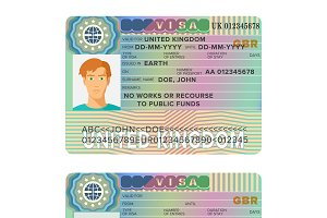 UK visa passport sticker flat style