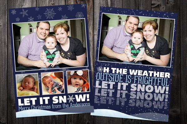 Let It Snow: 5x7 Xmas Card Template