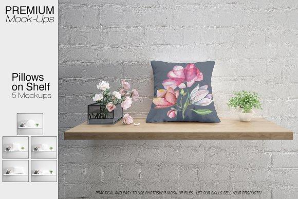 Pillows On Shelves Set Many Types