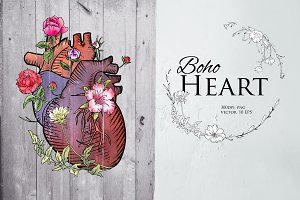 Heart illustration in boho style
