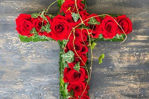 Red roses in composition