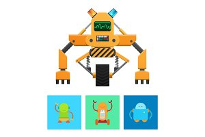 Cyborg Machine with Yellow Body, Vector Banner
