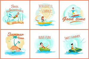 Sea Adventure and Summer Set Vector Illustration