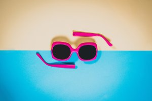 Pink sunglasses, summer concept