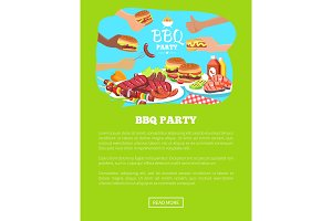 BBQ Party Website and Text Vector Illustration