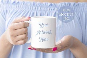 Woman holding mug mockup - blue