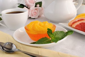 Dessert of oranges in jelly