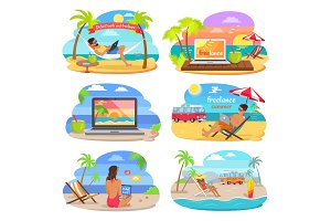 Distants Work and Summer Freelance Vector Banners