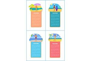 Hot Summer on Beach Promo Internet Banners Set