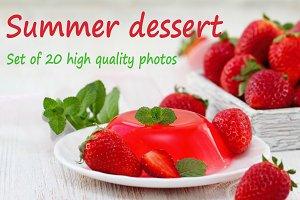 Summer dessert. Set of 20 images.