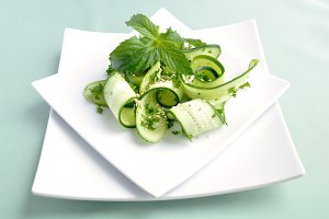 Cucumber salad with greens sesame