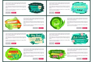 Web Posters Set with Discount Off Summer Big Sale