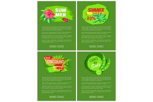 Set Web Posters Summer Sale Emblems Exotic Flowers