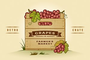 Retro Crate Of Grapes